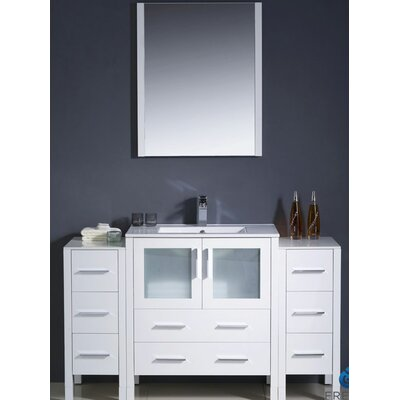 Torino 54 Single Modern Bathroom Vanity Set with Mirror Base Finish: White