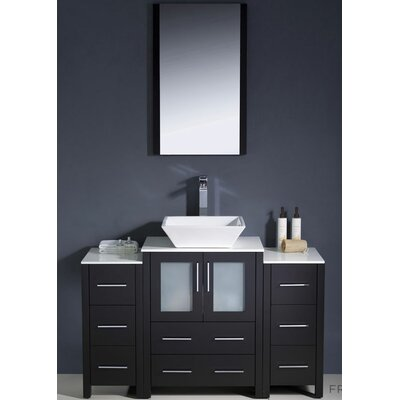 Torino 48 Single Modern Bathroom Vanity Set with Mirror Base Finish: Espresso
