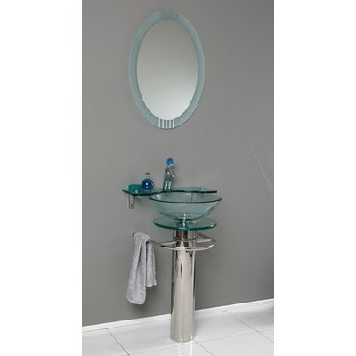 Vetro 24 Single Ovale Modern Bathroom Vanity Set with Mirror