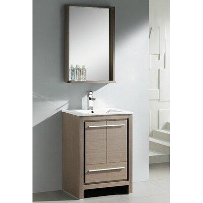 Allier 24 Single Bathroom Vanity Set with Mirror Base Finish: Gray Oak
