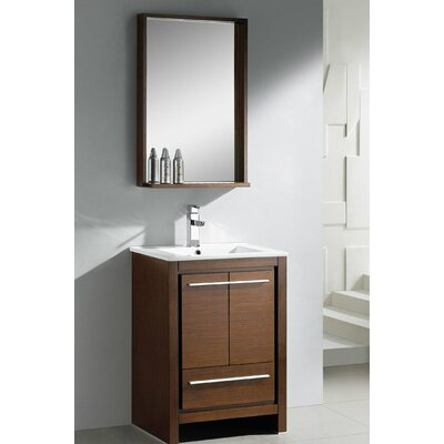 "Allier 23.5"" Modern Bathroom Vanity Set with Mirror Base Finish: Wenge Wood"