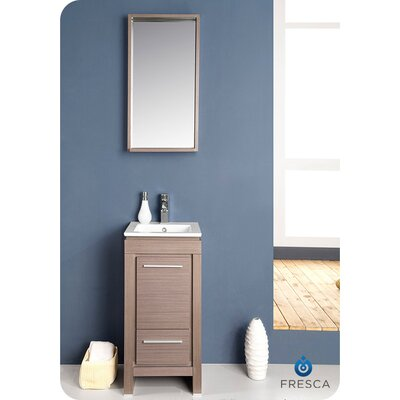 Allier 16 Single Small Modern Bathroom Vanity Set with Mirror Base Finish: Gray Oak