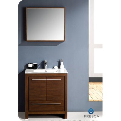 Allier 30 Single Bathroom Vanity Set with Mirror Base Finish: Wenge Brown