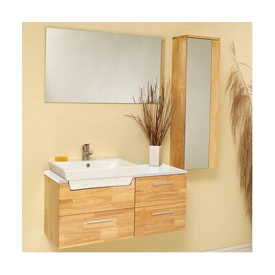 Stella 36 Wall-Mounted Single Bathroom Vanity Set with Mirror Base Finish: Natural