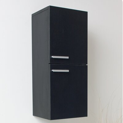 "12.63"" x 27.5"" Bathroom Linen Side Cabinet Finish: Black"