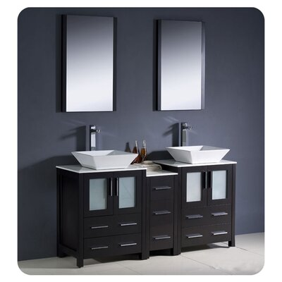 Torino 60 Double Modern Bathroom Vanity Set with Mirror Base Finish: Espresso
