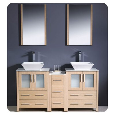 Torino 60 Double Modern Bathroom Vanity Set with Mirror Base Finish: Light Oak