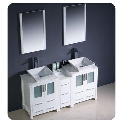 Torino 60 Double Modern Bathroom Vanity Set with Mirror Base Finish: White