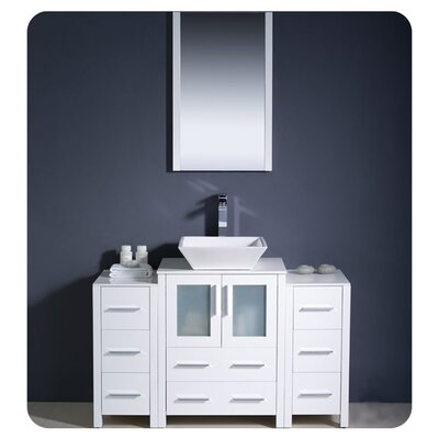 Torino 48 Single Modern Bathroom Vanity Set with Mirror Base Finish: White