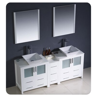 Torino 72 Double Bathroom Vanity with Mirror Base Finish: White