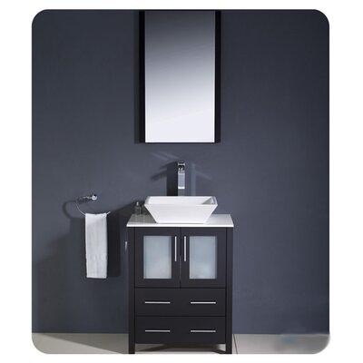 Torino 24 Single Modern Bathroom Vanity Set with Mirror Base Finish: Espresso