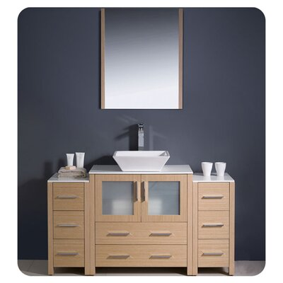 Torino 54 Single Modern Bathroom Vanity Set with Mirror Base Finish: Light Oak