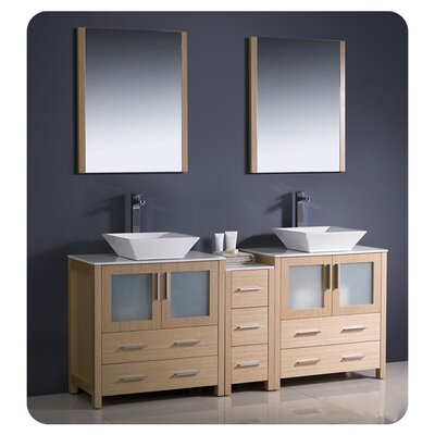 Torino 72 Double Bathroom Vanity with Mirror Base Finish: Light Oak