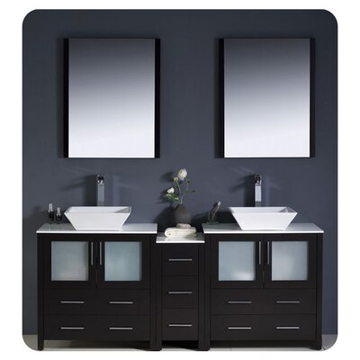 Torino 72 Double Modern Bathroom Vanity Set with Mirror Base Finish: Espresso