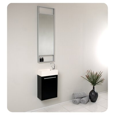 Senza 16 Single Bathroom Vanity Set with Mirror Base Finish: Black