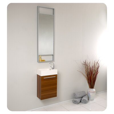 Senza 16 Single Bathroom Vanity Set with Mirror Base Finish: Teak