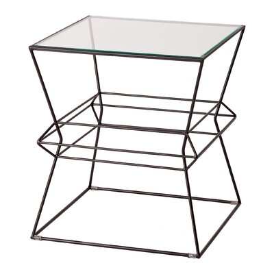 Lexie Square Vector Metal Table Finish: Black