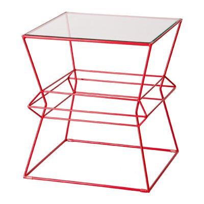 Lexie Square Vector Metal Table Finish: Red