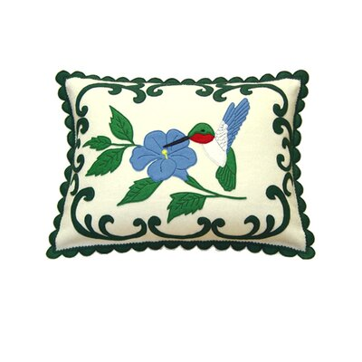 Hummingbird Wool Felt Boudoir Pillow