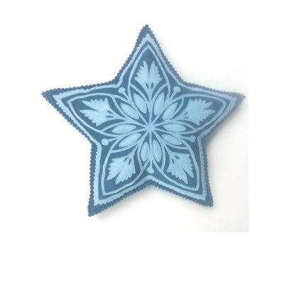 Great Plain Star Throw Pillow Color: Light Blue on Blueberry