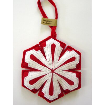 Snow Crystal Ornament Color: White on Red