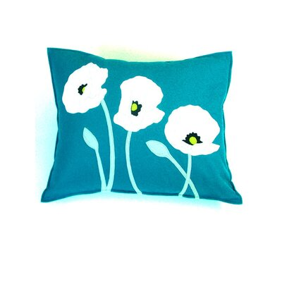 Linmore Poppy Trio Lumbar Pillow Color: Teal/White