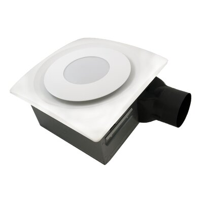 SlimFit 90 CFM Bathroom Fan with Light Finish: True White