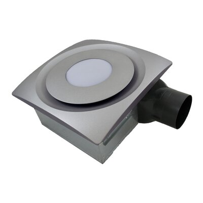 SlimFit 90 CFM Bathroom Fan with Light Finish: Satin Nickel