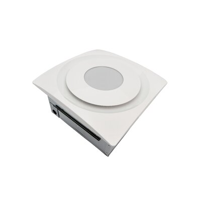 Slim Fit 90 CFM Bathroom Fan with Light and Sensor Finish: True White