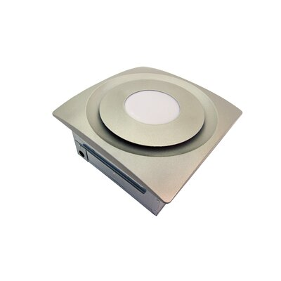 Slim Fit 90 CFM Bathroom Fan with Light and Sensor Finish: Satin Nickel