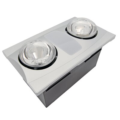 80 CFM Bathroom Fan with Heater and Light Finish: Silver
