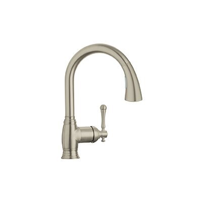 Bridgeford Single Handle Deck Mount Kitchen Sink Faucet Finish: Brushed Nickel