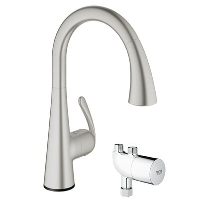 LadyLux3 Touchless Single Handle Single Hole Kitchen Faucet with Grohtherm Micro Finish: Supersteel