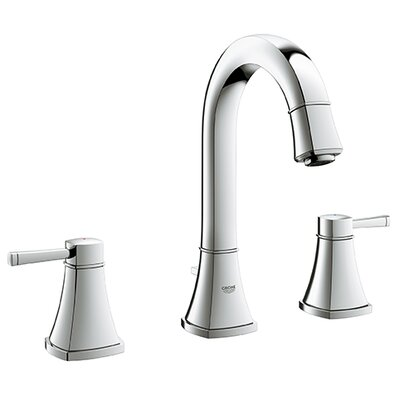 Grandera Widespread Bathroom Sink Faucet Double Handle with Drain Assembly Finish: Chrome