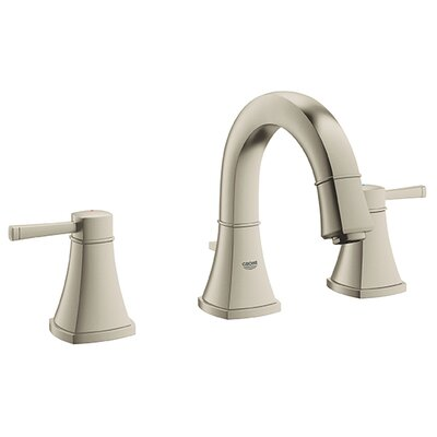 Grandera Bathroom Sink Faucet Double Handle with Drain Assembly Finish: Brushed Nickel