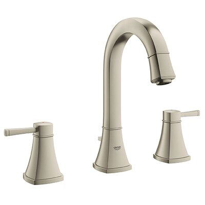 Grandera Widespread Bathroom Sink Faucet Double Handle with Drain Assembly Finish: Brushed Nickel