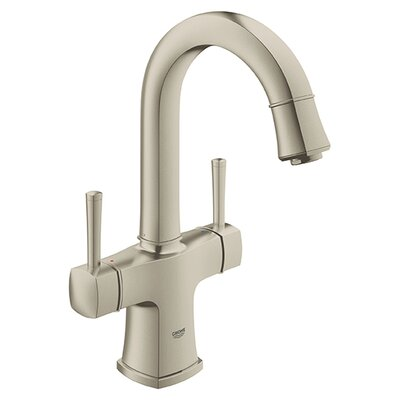 Grandera Single Hole Bathroom Sink Faucet Double Handle with Drain Assembly Finish: Brushed Nickel