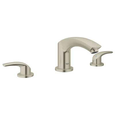 New Eurosmart 3 Hole 2 Handle Deck Mounted Bath Mixer Finish: Brushed Nickel