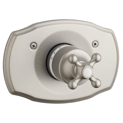 Seabury Thermostatic Faucet Trim with Cross Handle Finish: Satin Nickel