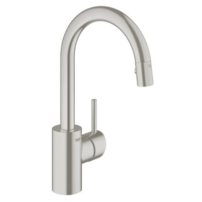 Concetto Single Handle Deck Mount Kitchen Faucet with Dual Spray Pull Down Finish: SuperSteel InfinityFinish