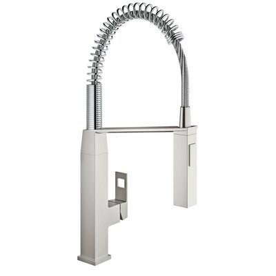 Eurocube Pull Out Single Handle Kitchen Faucet Finish: SuperSteel Infinity