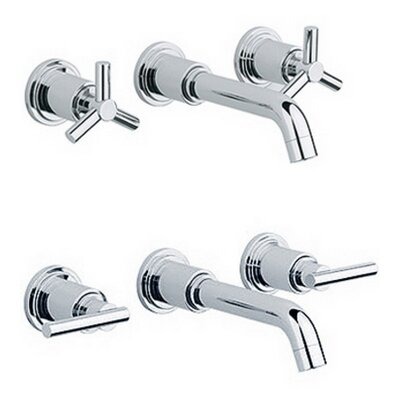 Atrio 3-H Basin Mixer Wall Mount Trim Set Handles: Without Handles