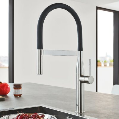 Essence New Semi Pro Single Handle Pull Down Kitchen Faucet Finish: Chrome