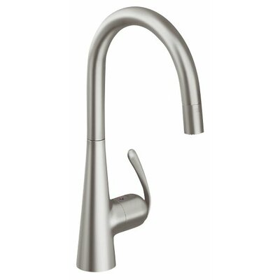 Ladylux3 Single Handle Single Hole Standard Kitchen Faucet with Dual Spray Pull Down and Lever Handle Finish: Supersteel