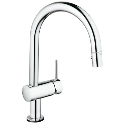 Minta Single Handle Deck Mount Kitchen Faucet with Dual Spray Pull Down Finish: Chrome