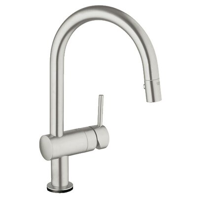 Minta Single Handle Deck Mount Kitchen Faucet with Dual Spray Pull Down Finish: Brushed Nickel