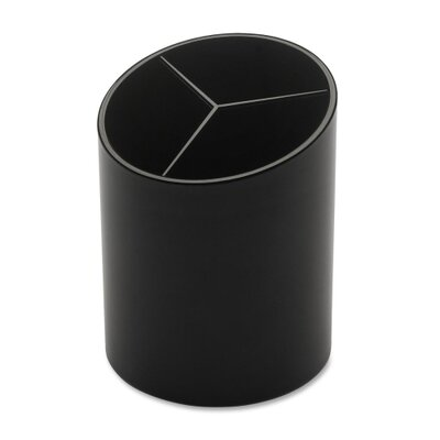 "Large Pencil Cup, 3 Compartments, 3""x3""x4-1/8"", Black BSN32355"