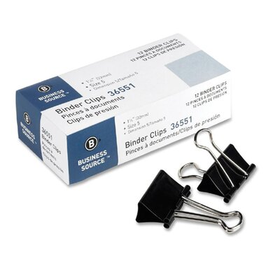 Binder Clip, Medium, 1-1/4W, 5/8 Capacity, Black (Set of 6)