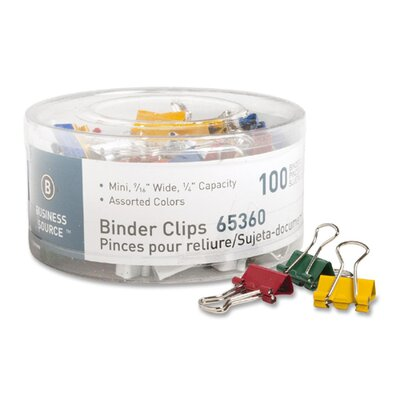 Binder Clips, Mini, 9/16W, 1/4 Capacity, 100 per Pack, Assorted (Set of 2)