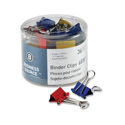 Binder Clips, Small 3/4W, 3/8 Capacity, 36 per Pack, Assorted (Set of 4)
